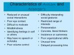 characteristics of autism and asperger s