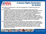a human rights declaration for autism