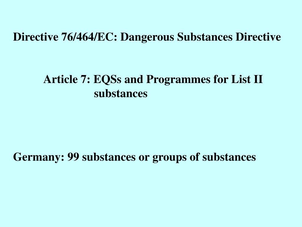 Directive 76/464/EC: Dangerous Substances Directive