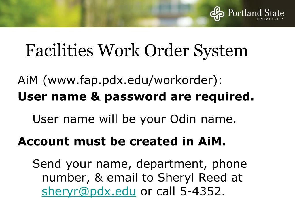 Facilities Work Order System