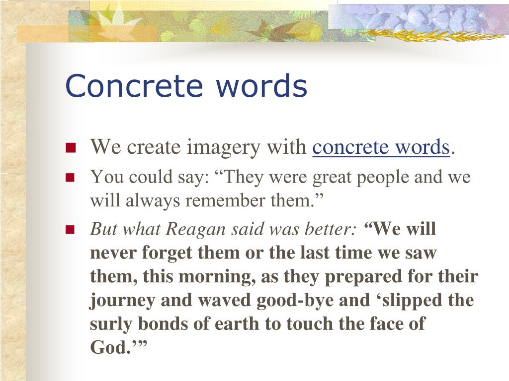 Concrete words