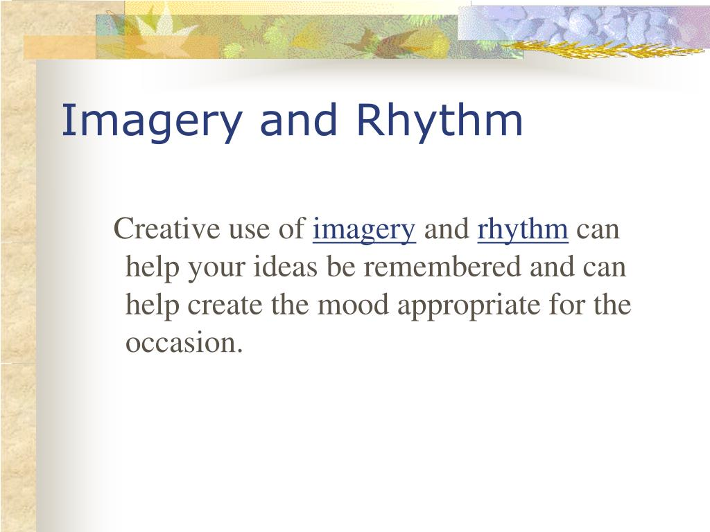 Imagery and Rhythm
