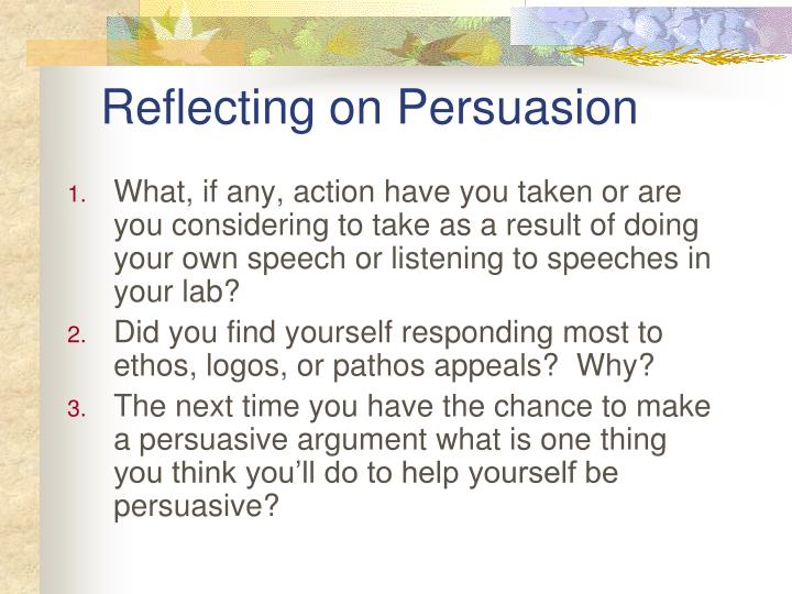 Reflecting on persuasion