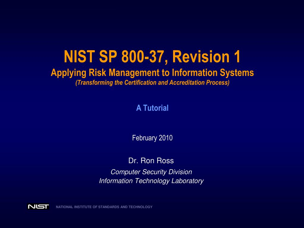 Ppt Dr Ron Ross Computer Security Division Information Technology