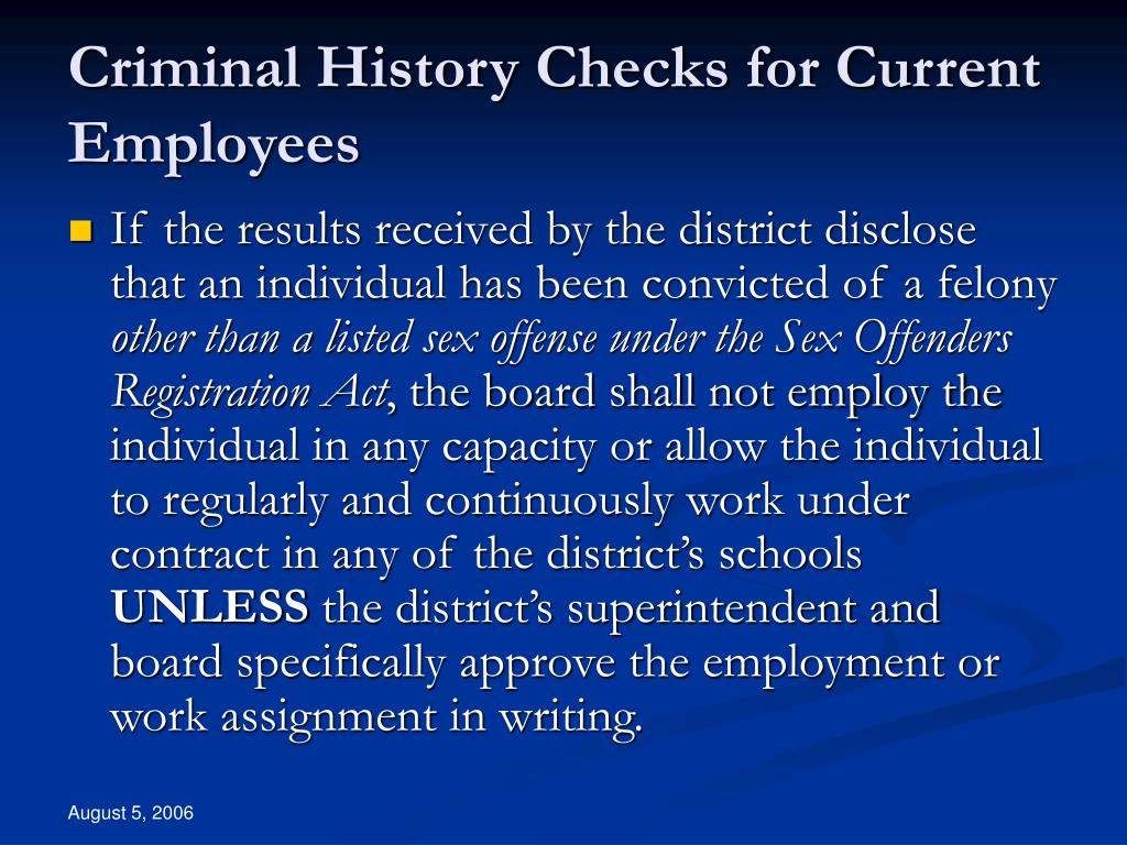 Criminal History Checks for Current Employees
