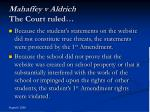 mahaffey v aldrich the court ruled