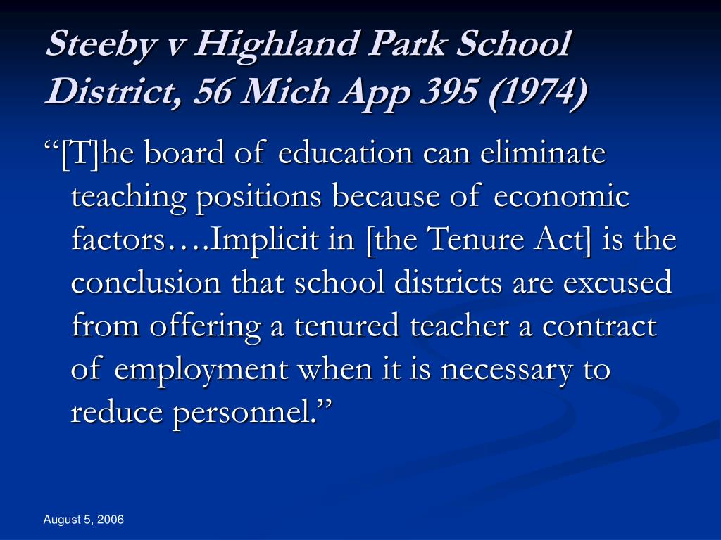 Steeby v Highland Park School District, 56 Mich App 395 (1974)