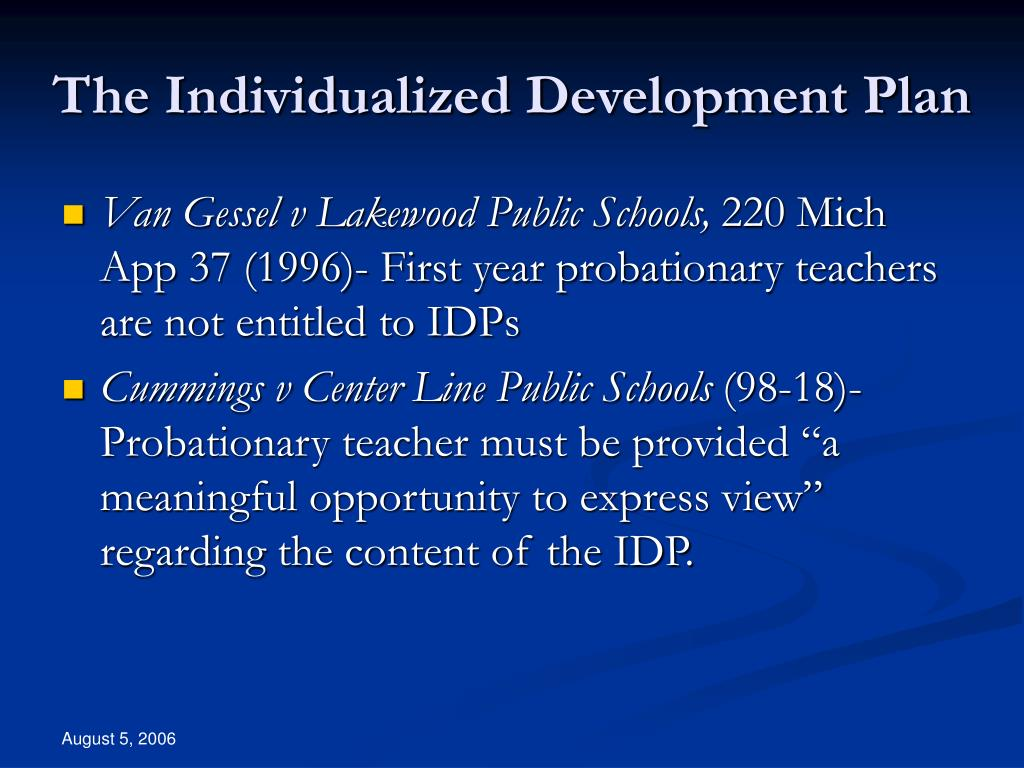 The Individualized Development Plan
