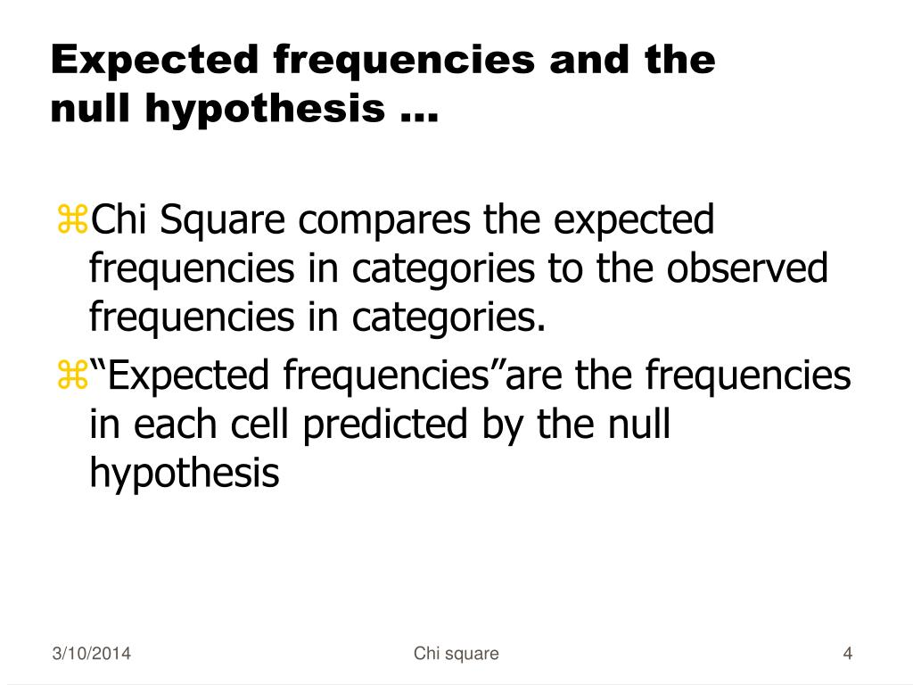 Expected frequencies and the null hypothesis ...