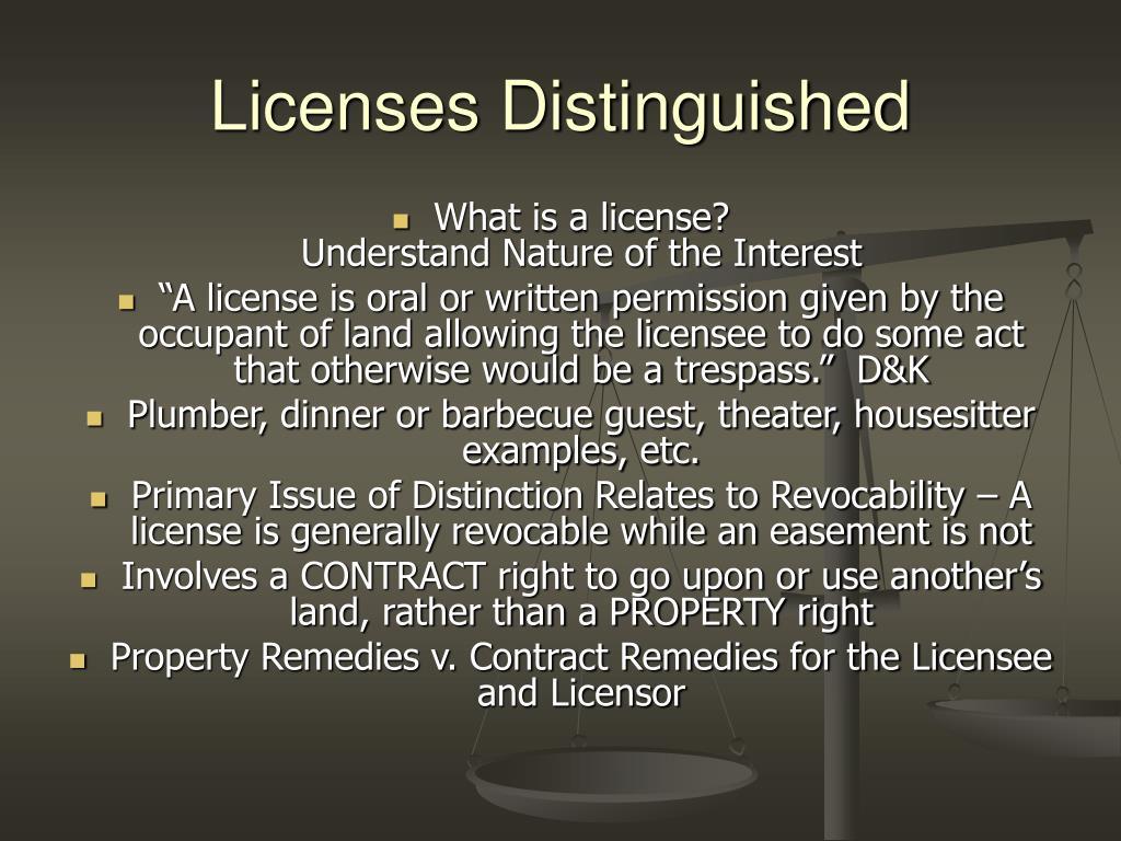 Licenses Distinguished