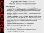 highlights of cadre activities beyond national database initiative
