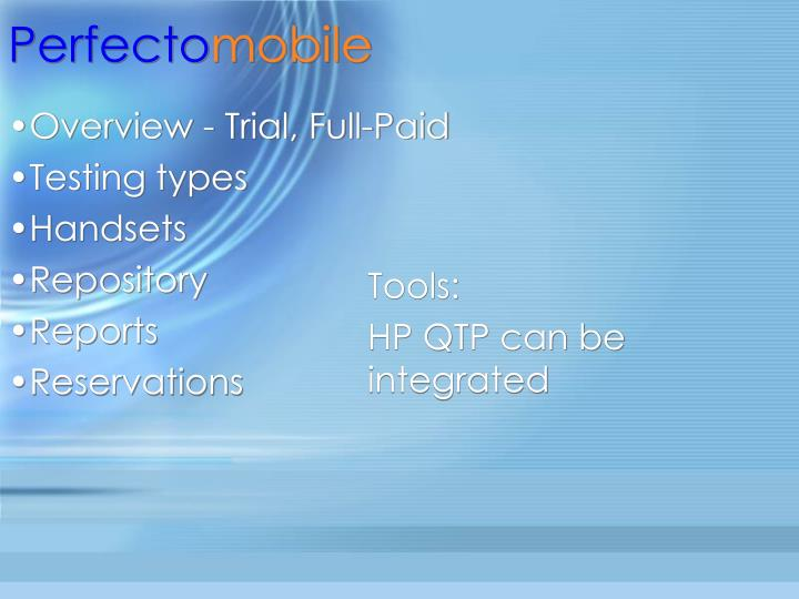 Overview trial full paid testing types handsets repository reports reservations