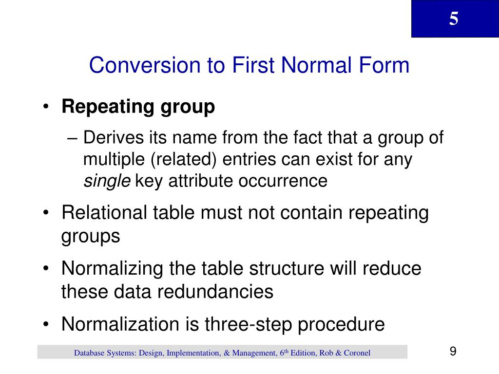 Conversion to First Normal Form