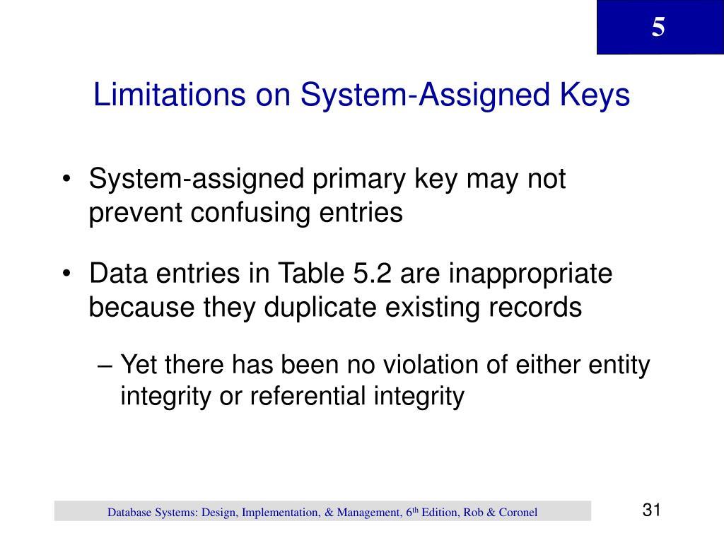 Limitations on System-Assigned Keys