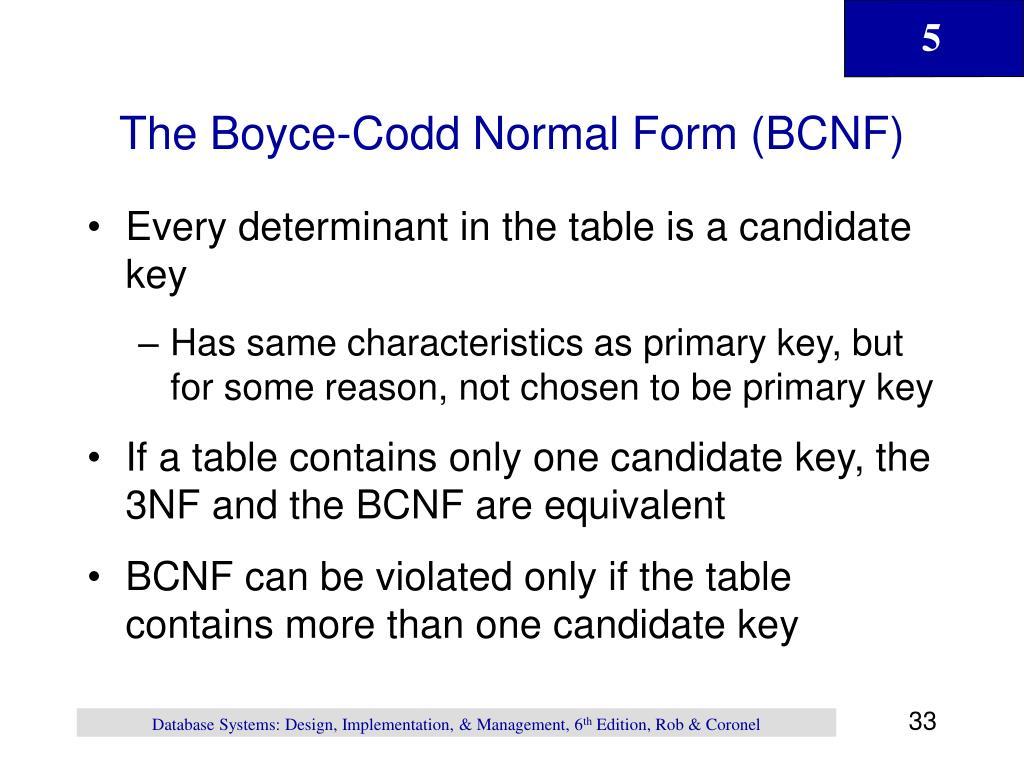 The Boyce-Codd Normal Form (BCNF)