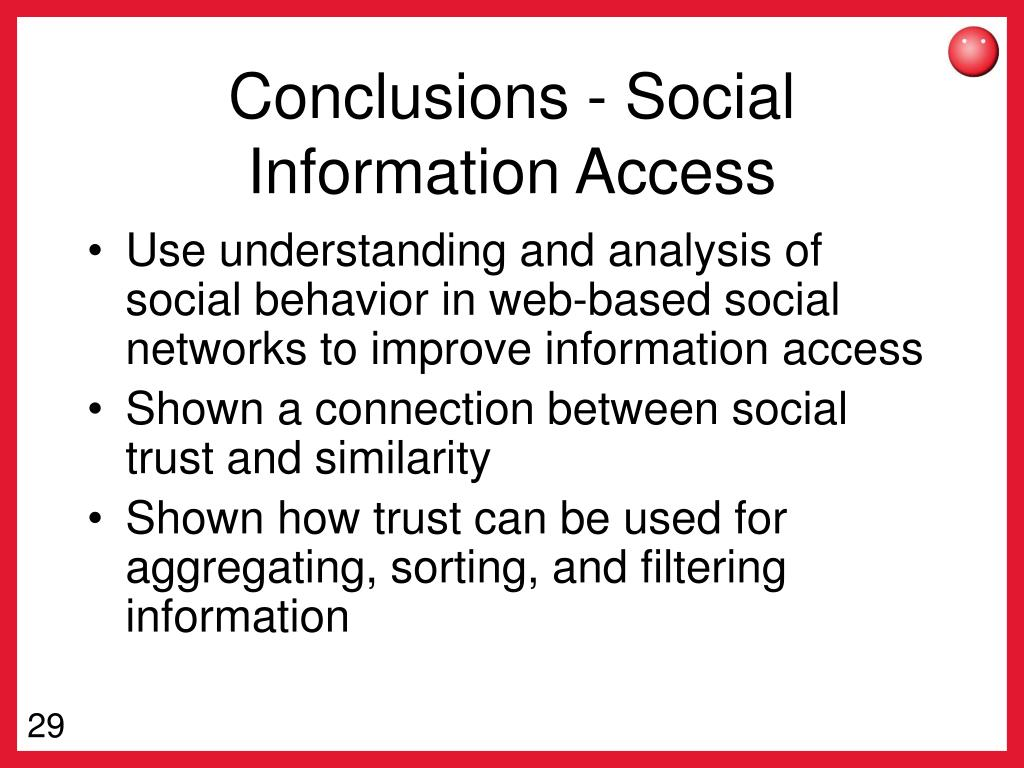 Conclusions - Social Information Access