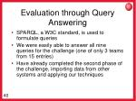 evaluation through query answering