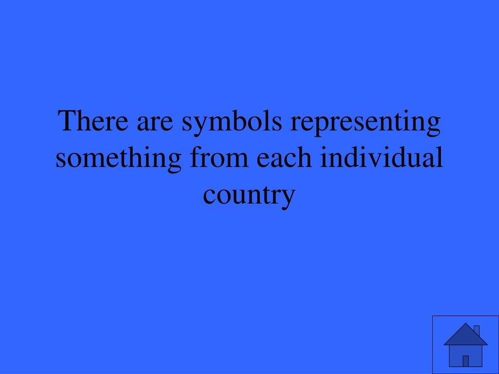 There are symbols representing something from each individual country