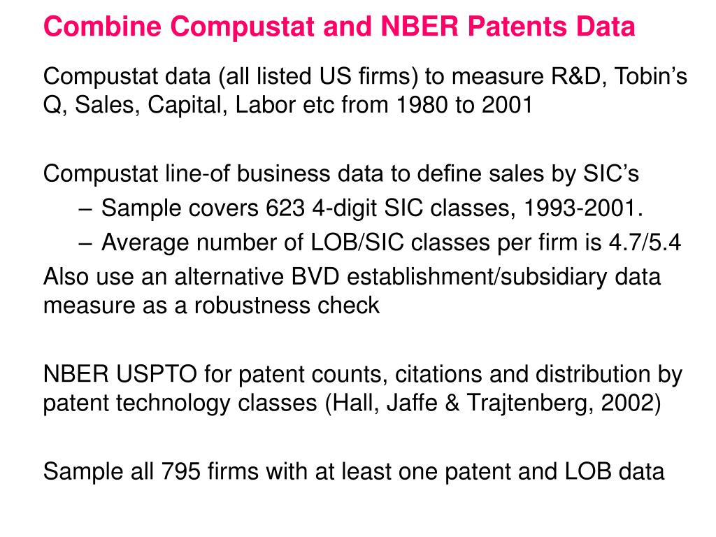 Combine Compustat and NBER Patents Data