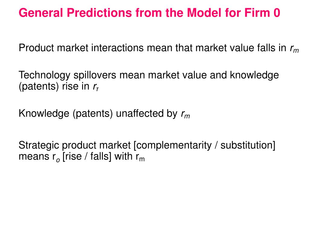 General Predictions from the Model for Firm 0