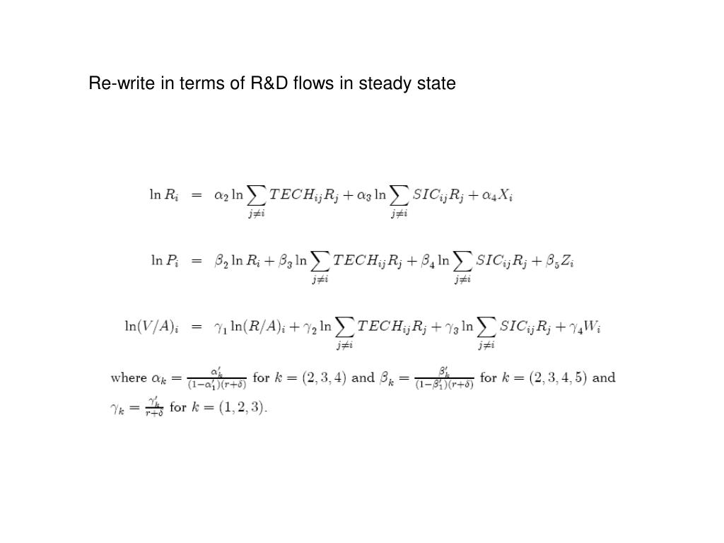 Re-write in terms of R&D flows in steady state