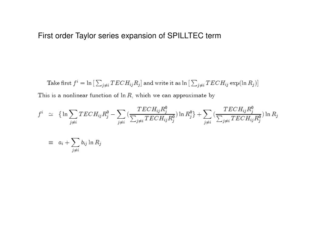 First order Taylor series expansion of SPILLTEC term