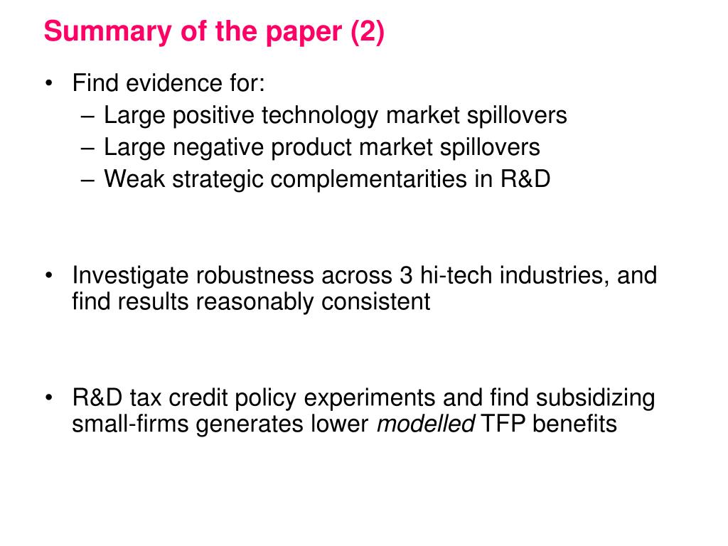 Summary of the paper (2)