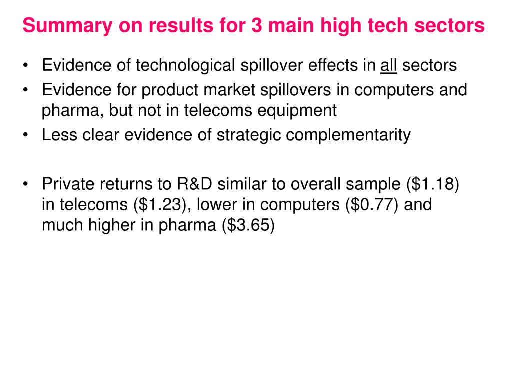 Summary on results for 3 main high tech sectors