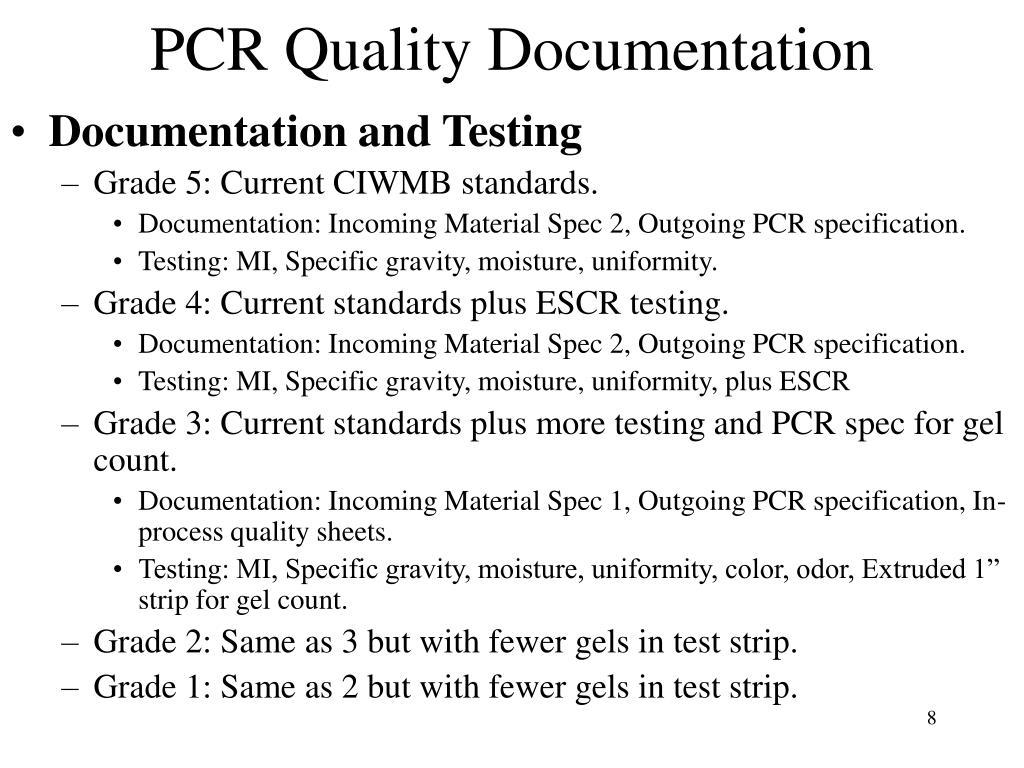 PCR Quality Documentation