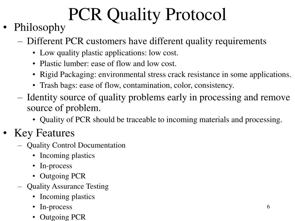 PCR Quality Protocol