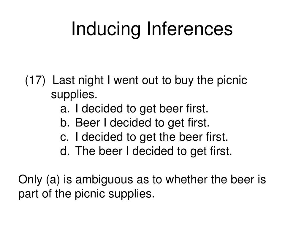 Inducing Inferences