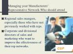 managing your manufacturers representative network who should attend
