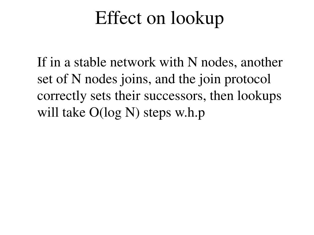 Effect on lookup