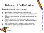 behavioral self control