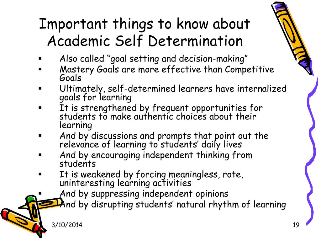 Important things to know about Academic Self Determination