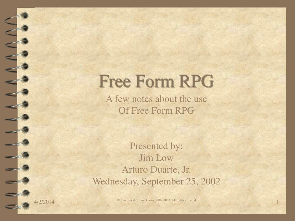 PPT - Free Form RPG PowerPoint Presentation - ID:752025