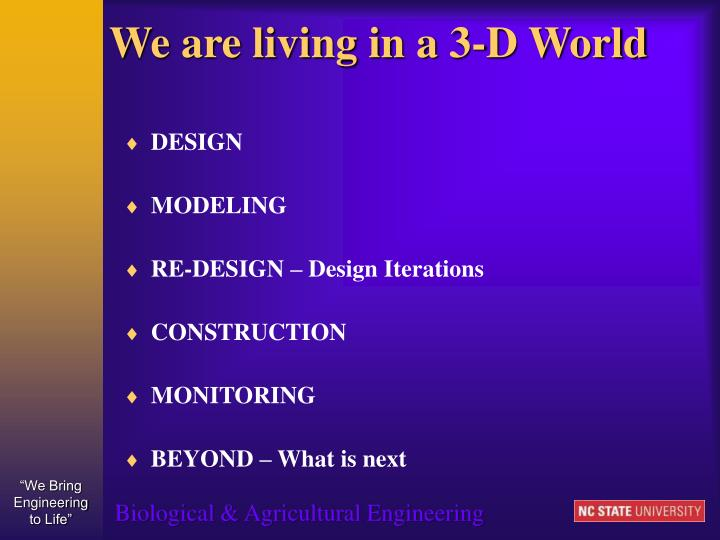 We are living in a 3 d world