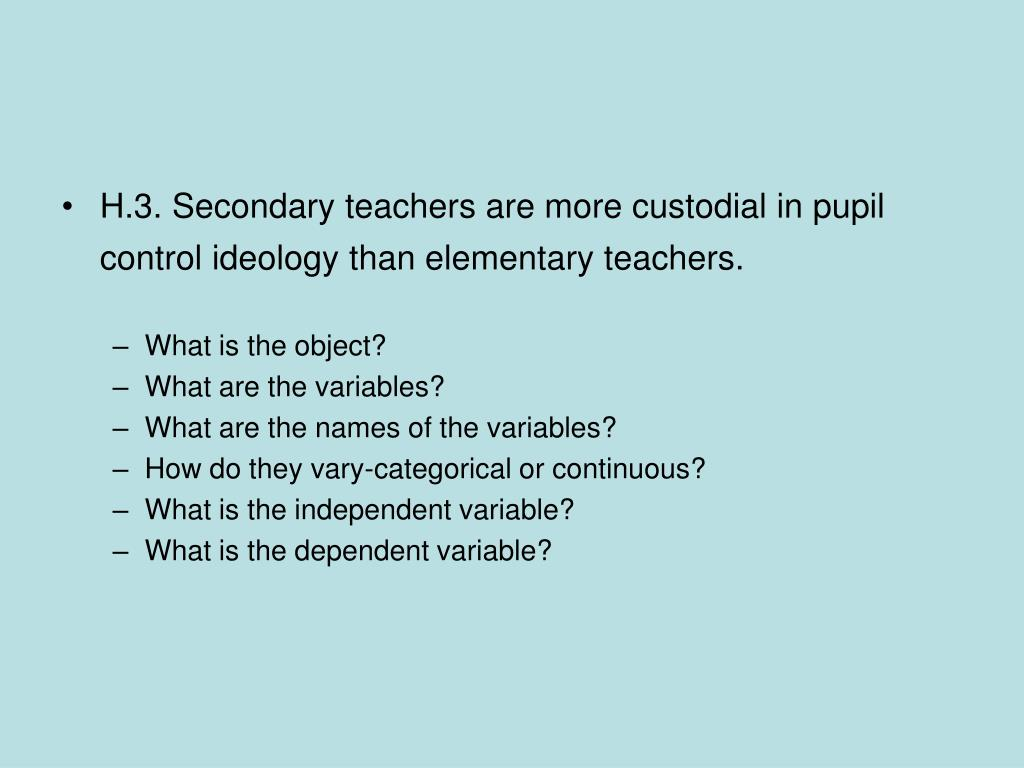 H.3. Secondary teachers are more custodial in pupil control ideology than elementary teachers.