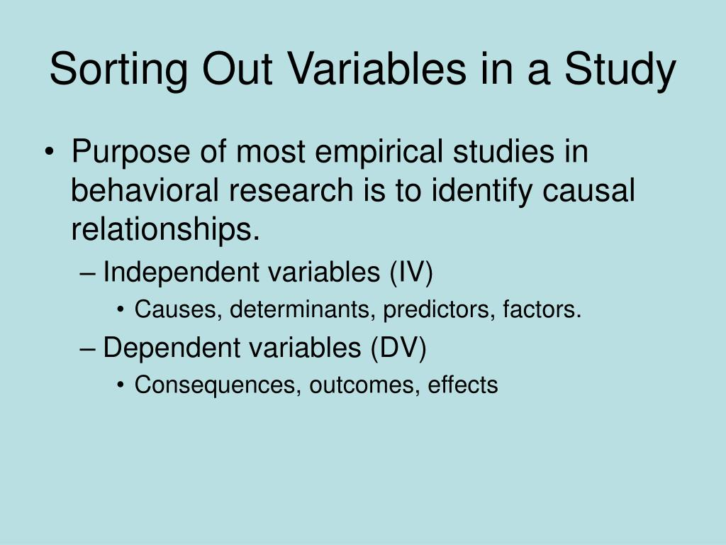 Sorting Out Variables in a Study