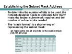 establishing the subnet mask address27