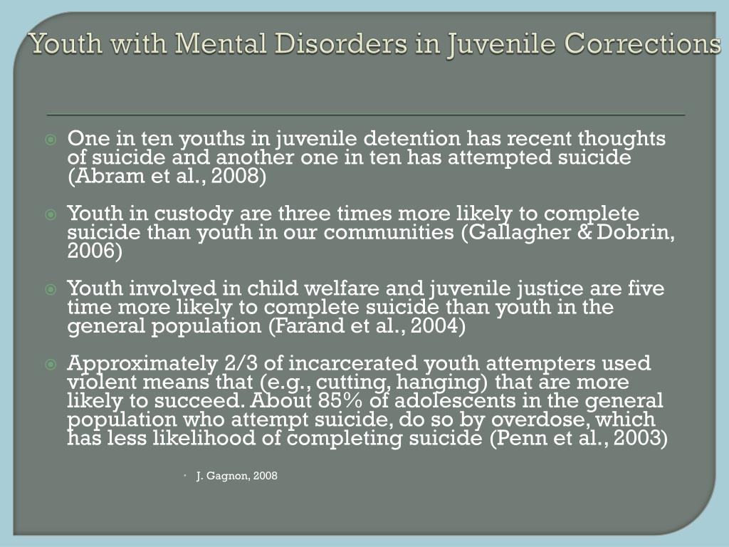 Youth with Mental Disorders in Juvenile Corrections