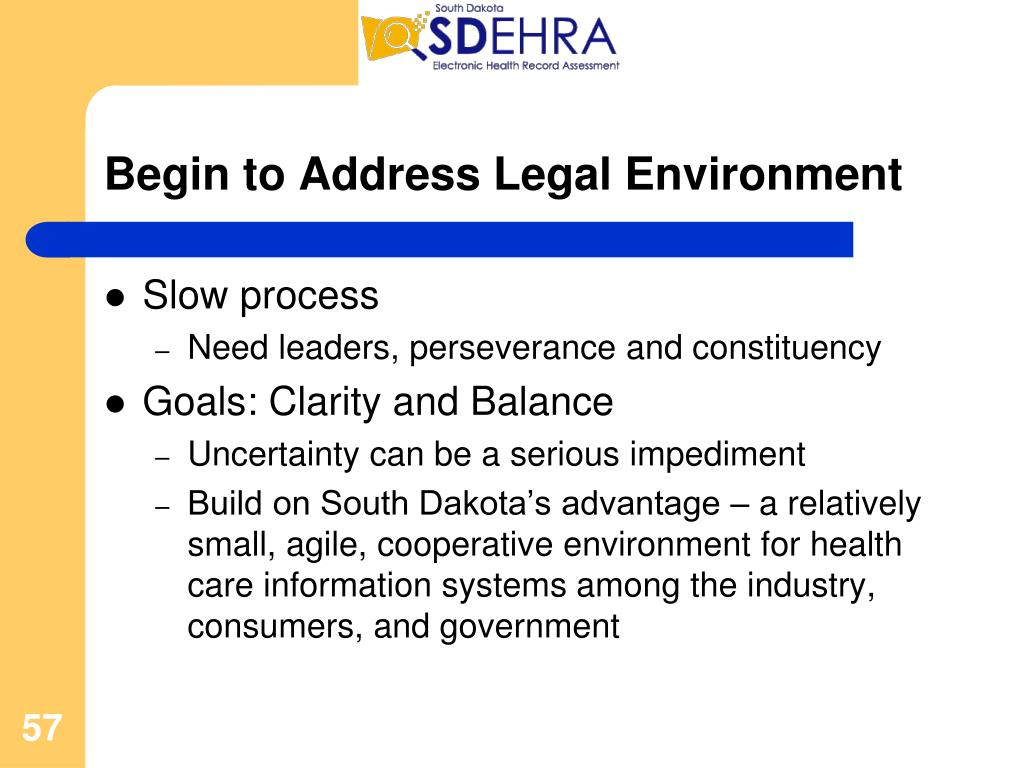 Begin to Address Legal Environment