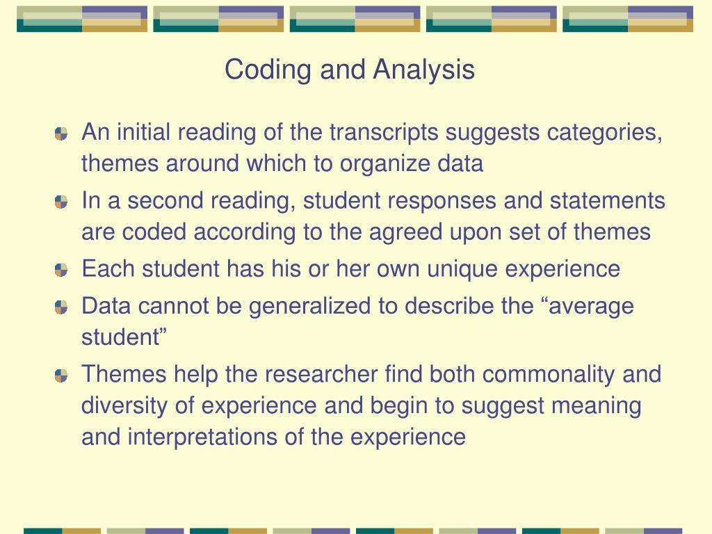 Coding and Analysis