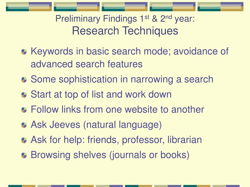 Preliminary Findings 1