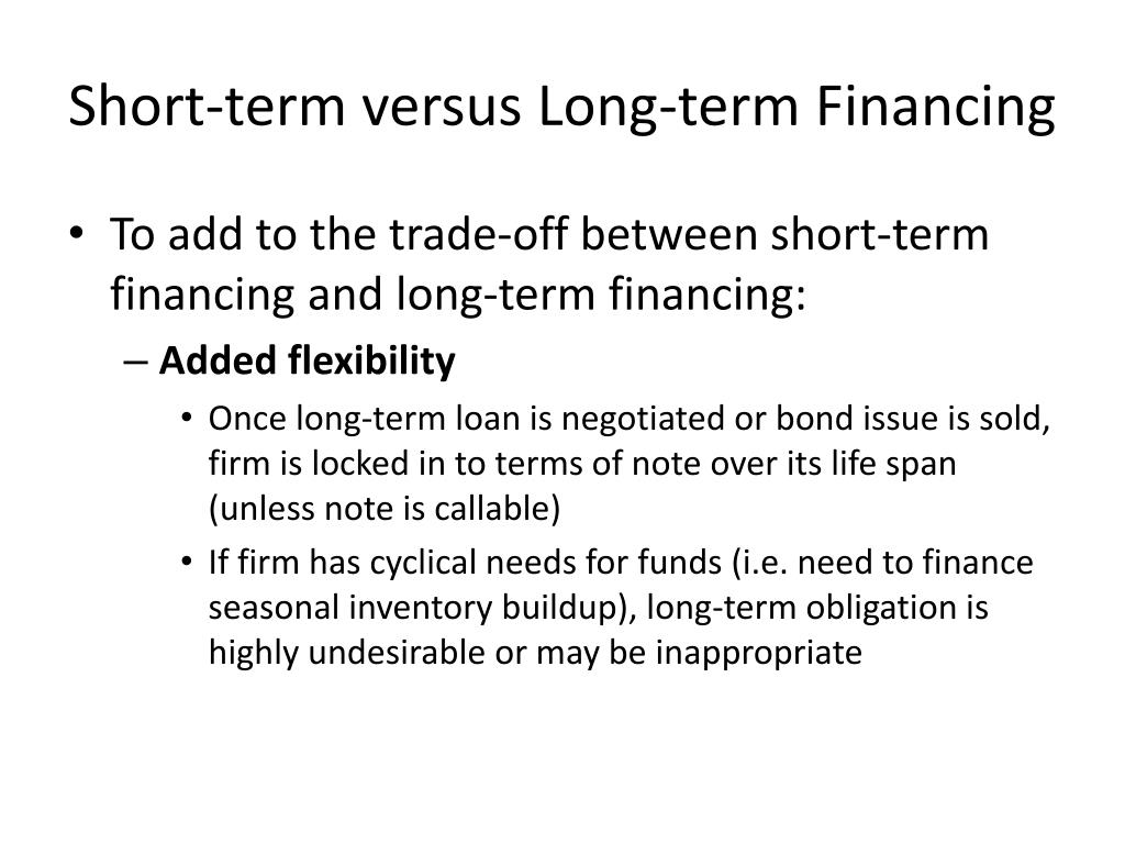 Short-term versus Long-term Financing