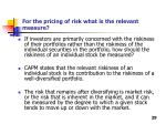 for the pricing of risk what is the relevant measure