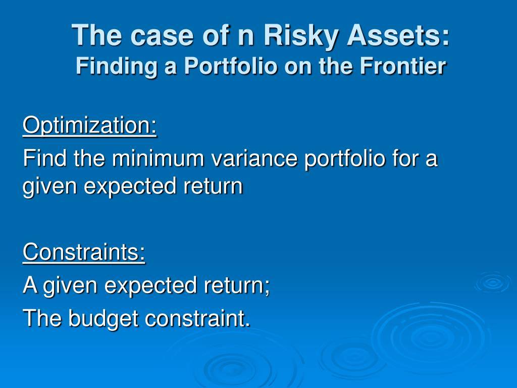 The case of n Risky Assets: