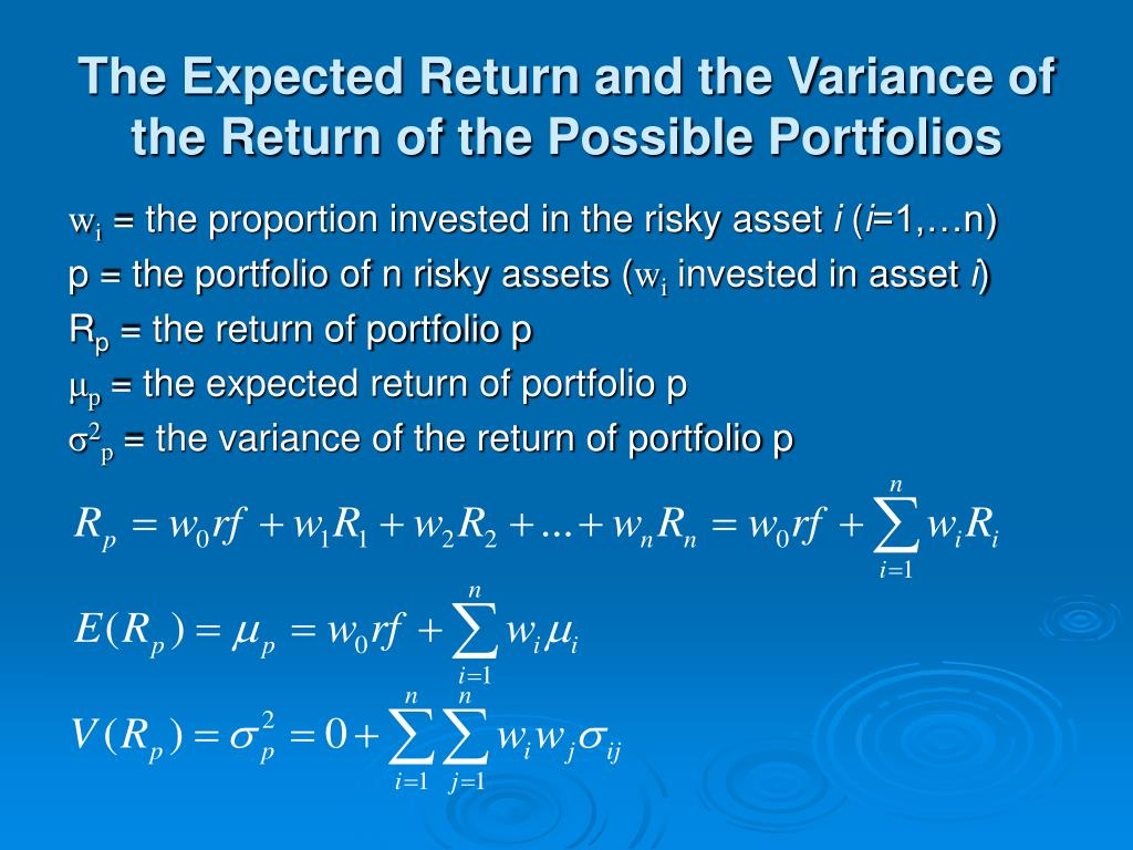 The Expected Return and the Variance of the Return of the Possible Portfolios