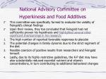 national advisory committee on hyperkinesis and food additives