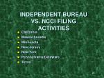 independent bureau vs ncci filing activities